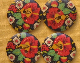 6 Large Wood Buttons Bohemian Floral Design 30mm - BUT082