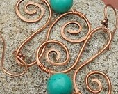 Copper and Turquoise Earrings, Copper and Turquoise Canoe Journey Earrings, First Nation