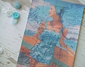 Shabby Chic notecards -  Large  notecards - blank - embellishments - Blue - beach - swimming - Vintage map