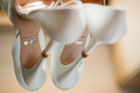 I DO Wedding Shoe Stickers with Diamond Ring in Silver - Silver Wedding Shoe I Do Sticker - I Do Shoe Stickers for your Bridal Shoes