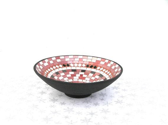 Mosaic Bowl Glass Mosaic Fruit Bowl, Modern Kitchen Decor, Unisex Housewarming Gift, Terracotta, Tribal, Colorful Handmade Bowl