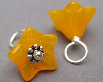 Flower Charms,  Wire Wrapped Bead Dangles, Sunflower Yellow Czech Glass Bell Flowers, Bracelet Charms with Sterling Silver Daisy Spacers