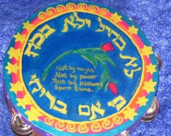"""Not by Power 10""""inch hand painted Tambourine"""