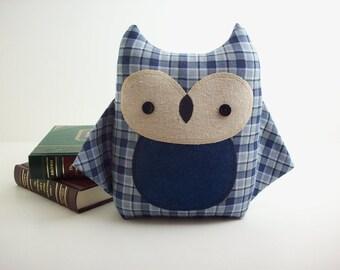 Owl plush in blue plaid, owl pillow, toy, woodland nursery decor, baby shower gift for boy,stuffed animal owl