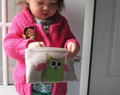 owl zipper pouch, small hand bag, green and pink, gift for her, READY to SHIP by mamableudesigns on etsy