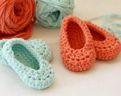 2 Pairs Crochet Baby Shoes - Aqua & Coral - FREE US SHIPPING