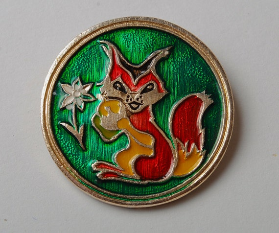 Vintage small pin, squirrel with nut, badge from USSR