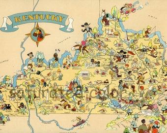 Kentucky Map ORIGINAL 9 X 13 Vintage 1930s Antique Picture Map - Ruth Taylor White - Louisville Lexington Bowling Green Owensboro Souvenir