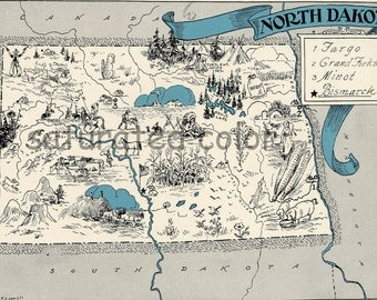 North Dakota Map Vintage - Map Art - High Res DIGITAL IMAGE of a 1930s Vintage Picture Map - Turquoise Aqua - Charming & Fun - wedding map