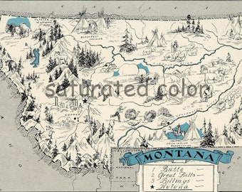 Montana Map - Map Art - High Res  DIGITAL IMAGE of a 1930s Vintage Picture Map - Turquoise Aqua - Charming & Fun