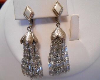 Vintage earrings, Sarah Coventry earrings, signed earrings, dangle earrings,boho earrings, clip-on earrings
