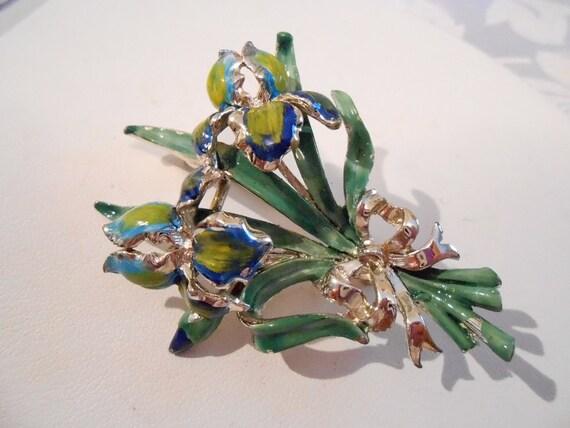 Vintage brooch, Iris brooch, enamel brooch, floral brooch, blue and green brooch, 1940s brooch