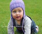 Knitted Baby Hat - Girls Boys, Purple Pink Violet Lilac Blue with Ear Flaps, warm wool beanie for fall, winter, size - 12 M / 18 M babies