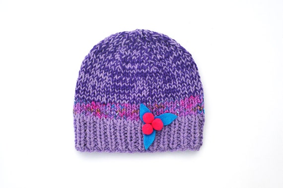 Knitted Girls Hat, Purple Violet Lilac wool Beanie with Blue Felt Flower and hot pink bobbles - berries, fall, winter - 2 T / 3 T Toddler