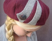 Soft Structure Beret Upcycled Felted Wool, Silk Lined