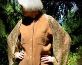 Handknit Shrug, Wearable Art, Jacket, Sweater, Coverup, Earth Tones, Cream, Rayon, Layaway Plan, FishBaySunsets
