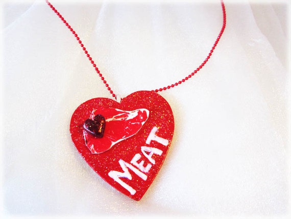 Love Meat - on a thin red ball chain