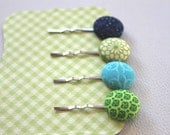 Set of 4 Button Bobby Pins-Button Hair Clips-Green and Blue Fabric Covered Buttons