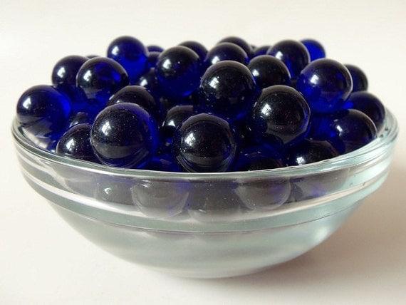 Lot Of 210 Vintage Cobalt Blue Glass Marbles 15mm