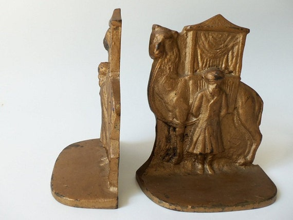Vintage Cast Iron Bookends - Camel with Howdah & Driver