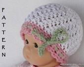 Crochet Doll Hat Pattern, Doll Ribbon Hat  Pattern for Bitty Baby, American Girl or 18 inch doll