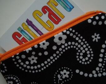 Zipper Wallet Black and White Paisley Orange Zipper Stocking Stuffer
