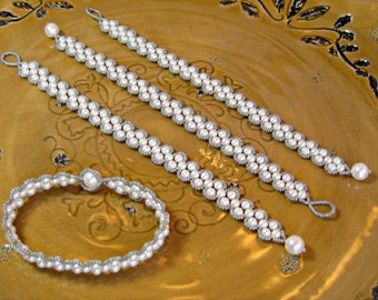 Bracelets SET OF FOUR for Weddings, Bridal Parties and Bridesmaid Gifts using Swarovski Pearls