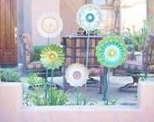 SALE Garden Art Shabby Chic Glass Flower Decor Suncatcher Repurposed Art Garden Gift MONICA