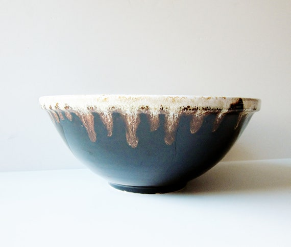 Large Mixing Bowl Brown Drip Glaze Vintage Pottery