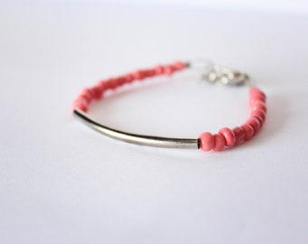 Minimalist Pink and Silver Stackable Metal Bracelet