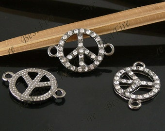 2pcs of 18x26mm Gunmetal plated Rhinestone Peace Symbol Connector,Bracelet Connector,bangle findings