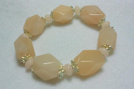 Gemstone Stretch Bracelet Pink Aventurine and Pink Opal