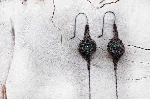 raw emerald organic crochet earrings