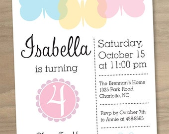 Girl's Butterfly Party Birthday Invitation - Pink Blue Yellow - Printable Digital File