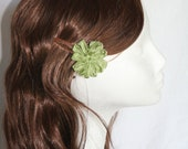 Green Ribbon Flower Hair Clip