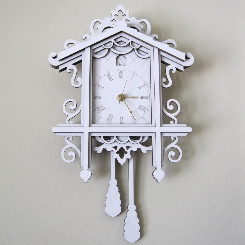 Fancy Cuckoo Clock White Laser Cut Cardboard Wall Decor