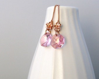 Rose gold earrings with pink Swarovski crystal, rose gold flower, feminine earrings
