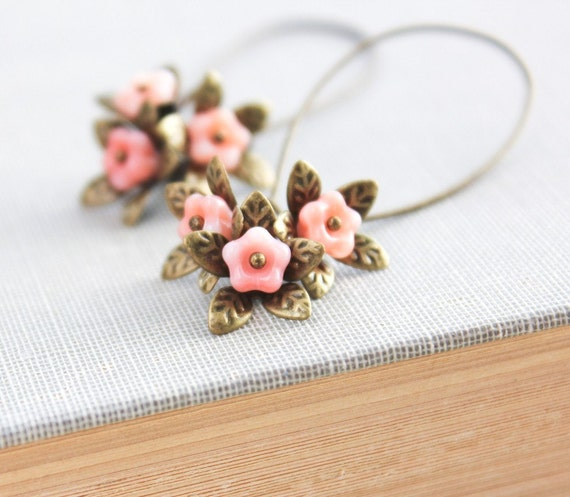 Long Earrings Dangle Earrings Pink Peach Flower Brass Leaf Glass Bead Antique Brass Leaf Nature Inspired Jewelry Unique Earrings