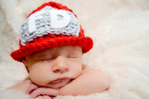 Crochet Fireman Beanie Hat/Photography Prop/Baby Shower Gift/Halloween Costume