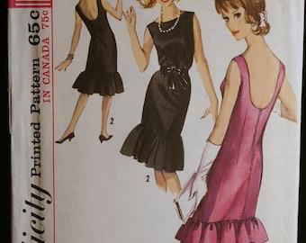 Simplicity 5817 Misses Party Dress with Hemline Flounces 60s Vintage Sewing Pattern  Sz14