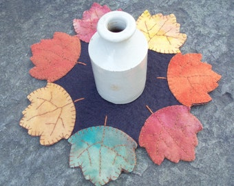 Autumn Leaves Felted Wool Candle Rug