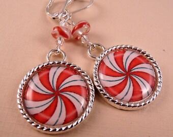 Christmas Earrings Christmas Jewelry Tile Earrings Peppermint Candy Earrings Tile Jewelry Holiday Jewelry Beaded Jewelry