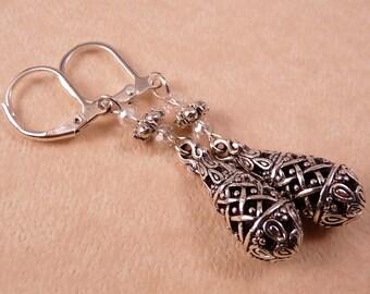 Silver Earrings Teardrop Earrings Beaded Earrings Metal Earrings Silver Jewelry Metal Jewelry Beaded Jewelry Crystal Jewelry
