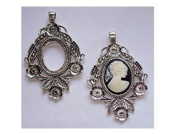 sale Antique Silver 30x22 Cabochon Setting with Bail  cameo setting mount or frame heavy and sturdy 432x