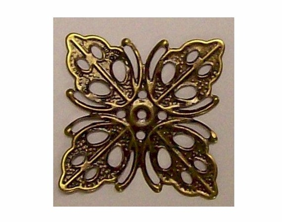 1pc 25mm square filigree Antiqued Bronze Filigree victorian brass stamping steampunk collage base jewelry findings beading focal point  390x