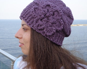 Hand Knit Hat With Flower - Womens Knit Winter Hat - Adult Hat - Womens Hats - Womens Knit Hats