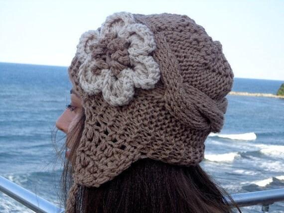 womens hats knit hats flower hat woman womens knit winter. Black Bedroom Furniture Sets. Home Design Ideas