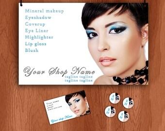 Makeup, Blue Eye Shadow Etsy banner and business set banner, avatar, business card, stickers, craft fair banner