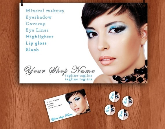 Makeup, Blue Eye Shadow Etsy banner and business set banner, avatar, business card, stickers, craft fair banner