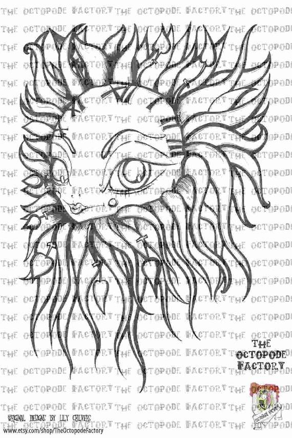 INSTANT DOWNLOAD Clockwork Sun Digital Stamp